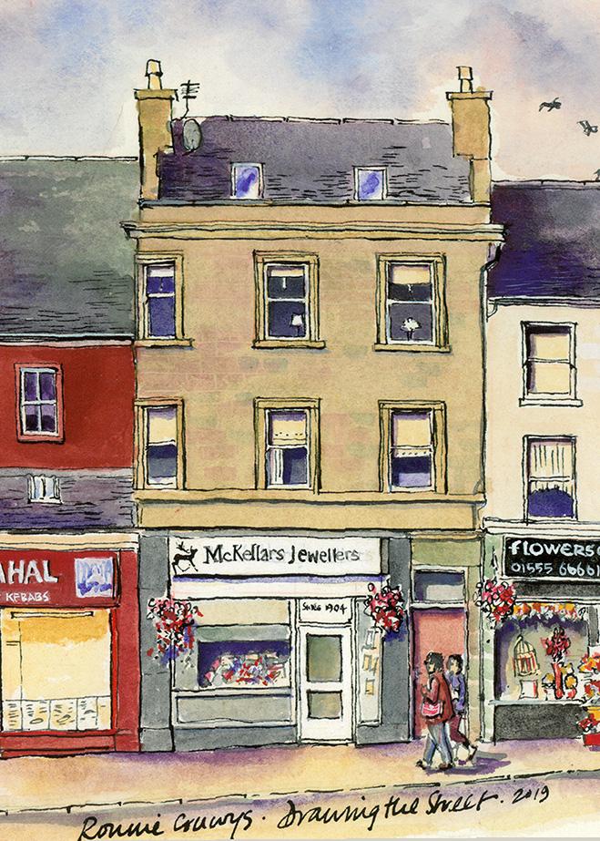 lanark High street by ronnie cruwys