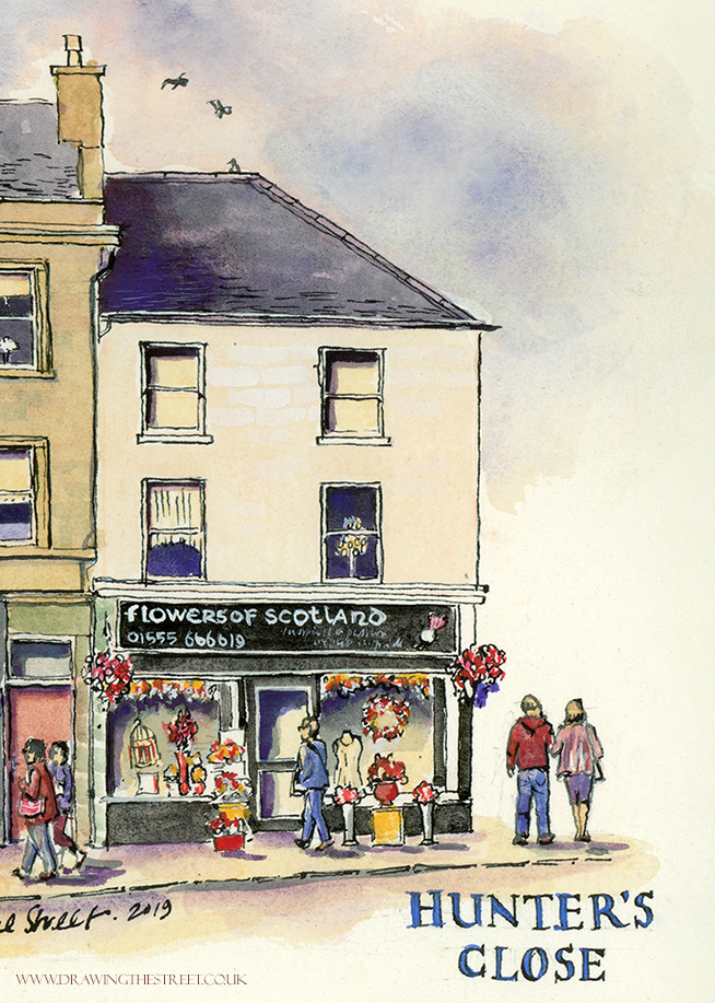 drawing of Flowers of Scotland by ronnie cruwys