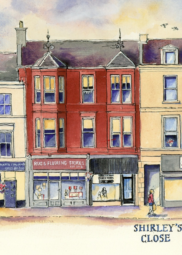 red sandstone building in Lanark drawn by Ronnie Cruwys