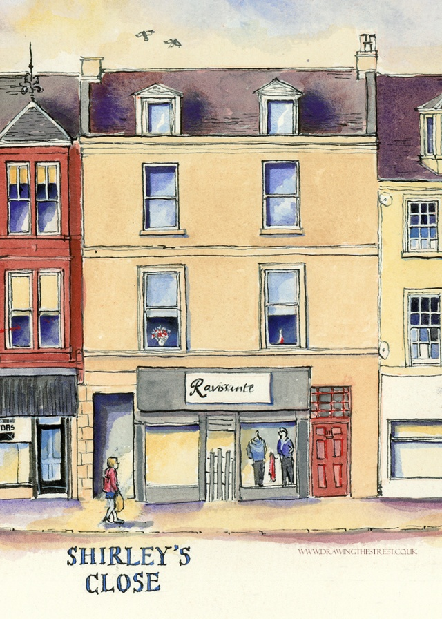 traditional scottish street drawing by Ronnie Cruwys
