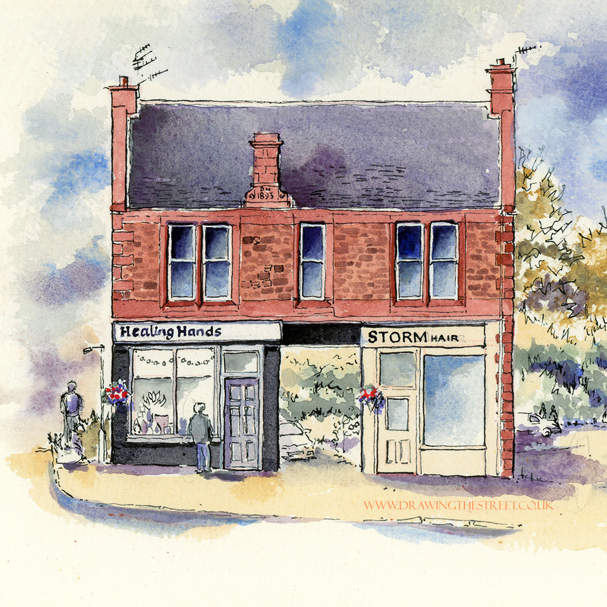 drawing by ronnie cruwys of healing hands and storm hair wellgate lanark
