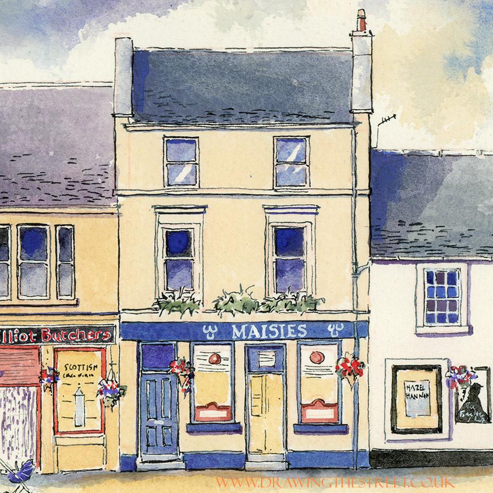 maisies bar in lanark drawn by ronnie cruwys