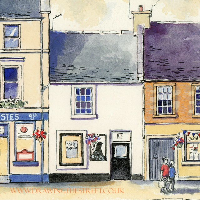 little cottage shop on wellgate lanark drawn by ronnie cruwys