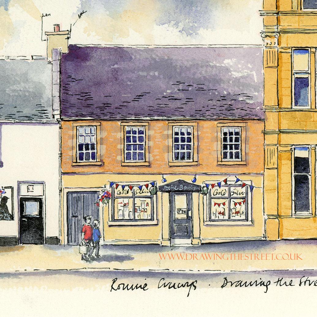 masonry building on wellgate lanark drawn by ronnie cruwys