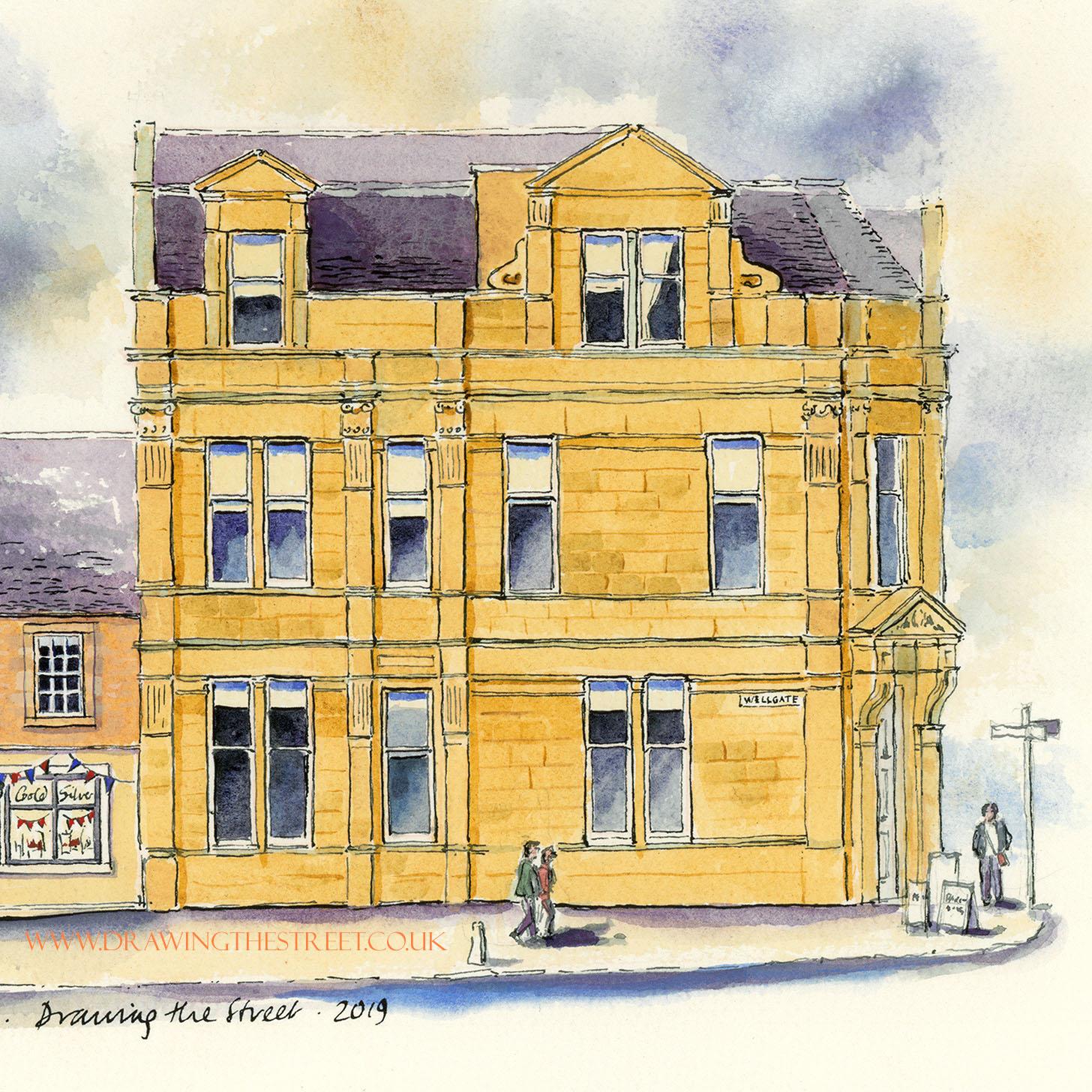 ashlar stone building on wellgate drawn by ronnie cruwys