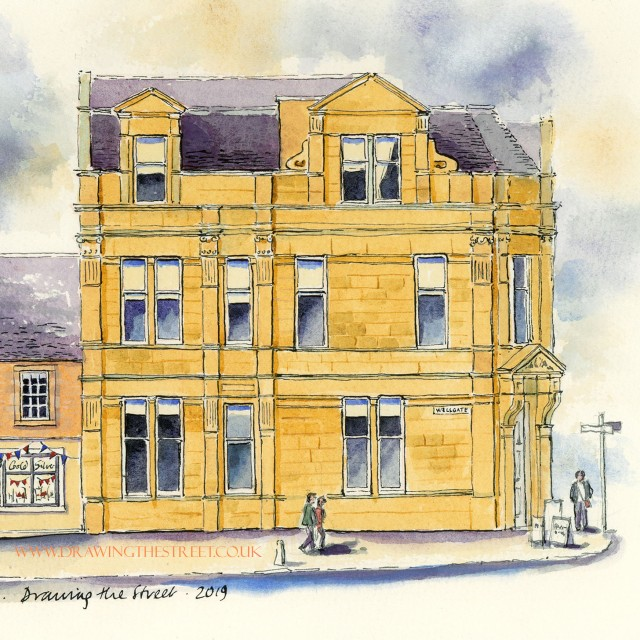 ashlar stone building on wellgate drawn by ronnie cruwys