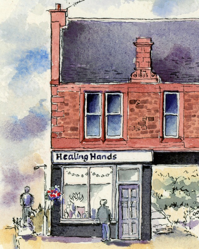 drawing of healing hands in Lanark by ronnie cruwys