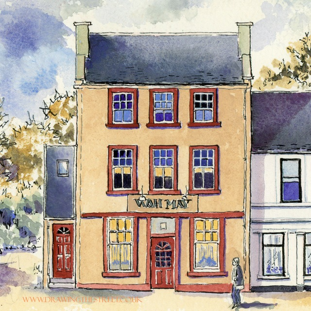 drawing of Wah May chinese takeaway Lanark