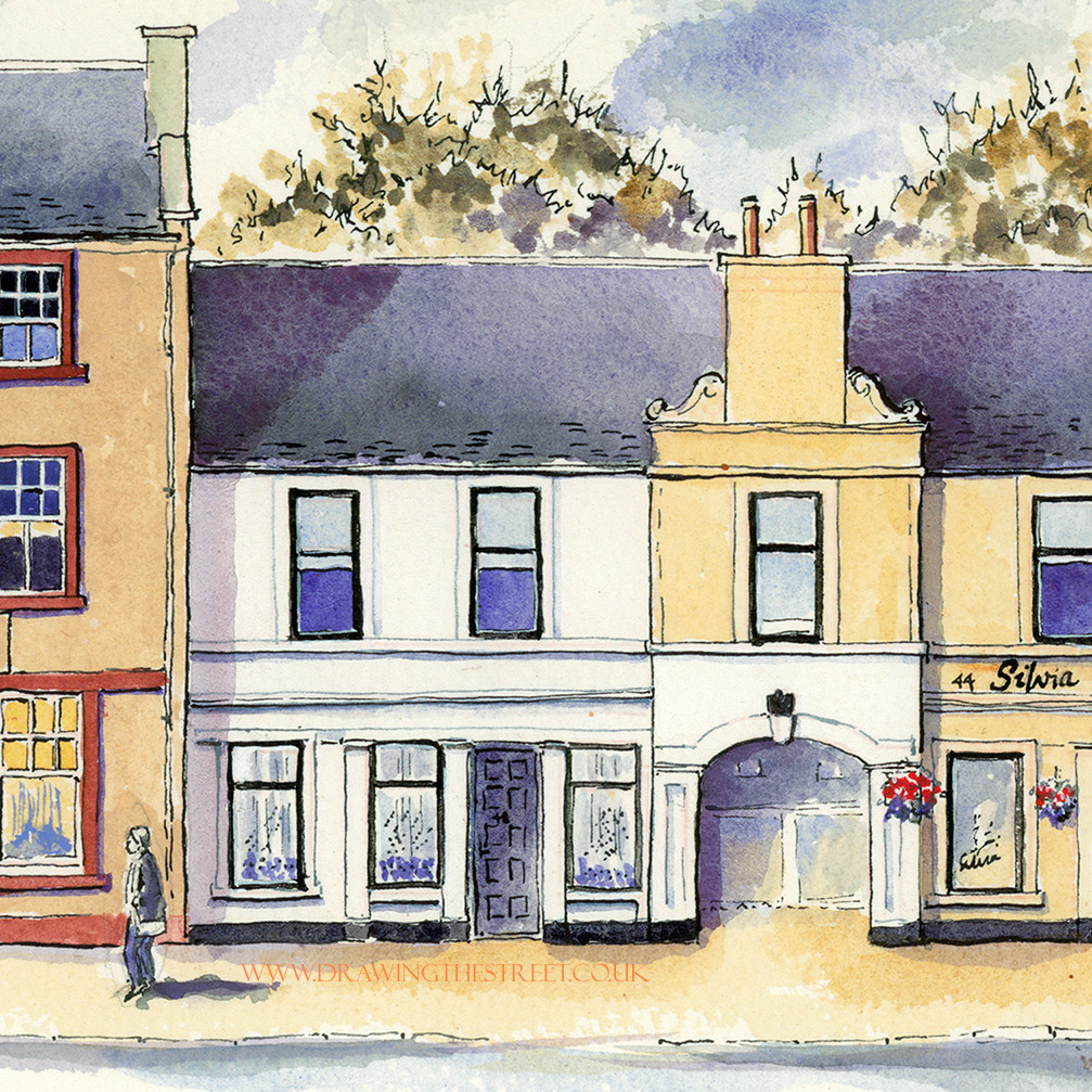 pen and ink drawing of no 48 wellgate lanark by ronnie cruwys