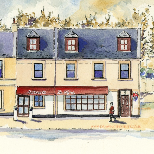 drawing of La Vigna restaurant by artist ronnie cruwys