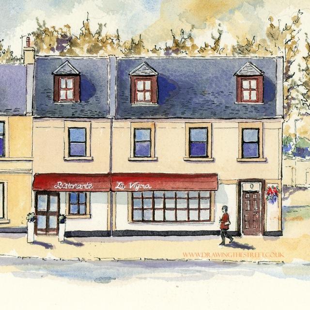drawing of La Vigna restaurant by artist ronnie cruwys