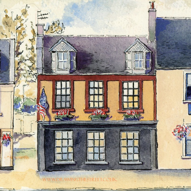 american restaurant in Lanark Scotland drawn by ronnie cruwys