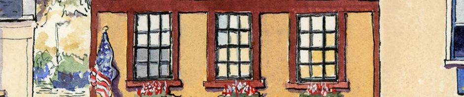 american restaurant in Lanark Scotland drawn by ronnie cruwys