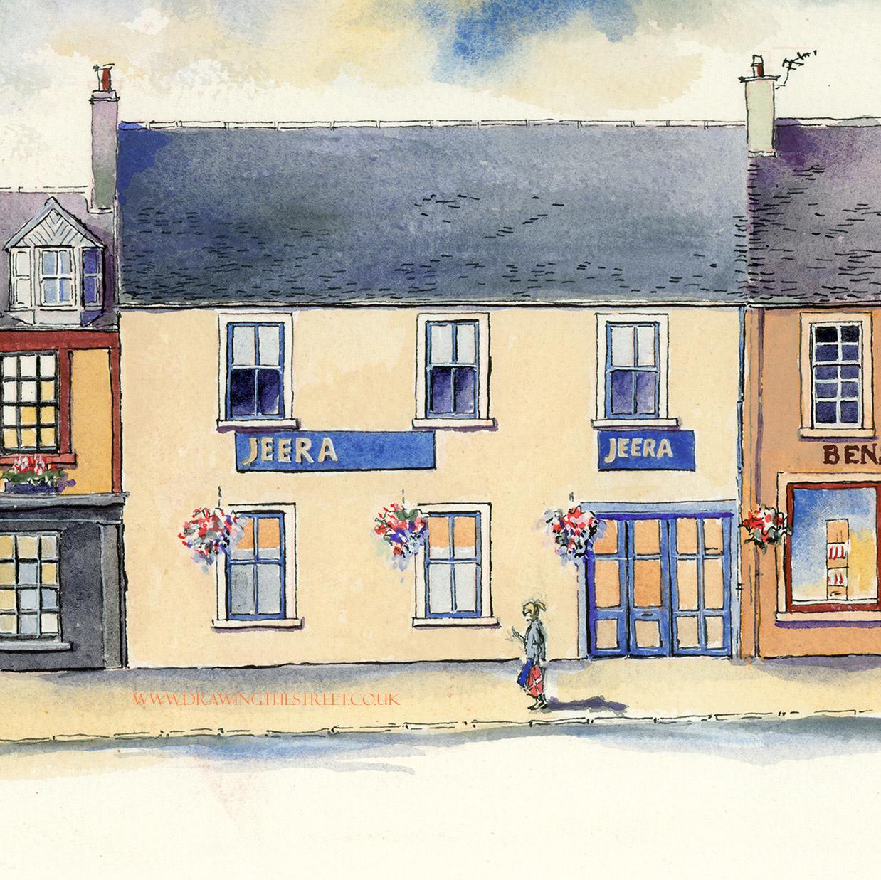 artwork of Jeera Indian Restaurant in Lanark by Ronnie Cruwys