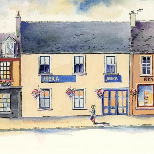 artwork of Jeera Indian Restaurant in Lanark by Ronnie Cruwys