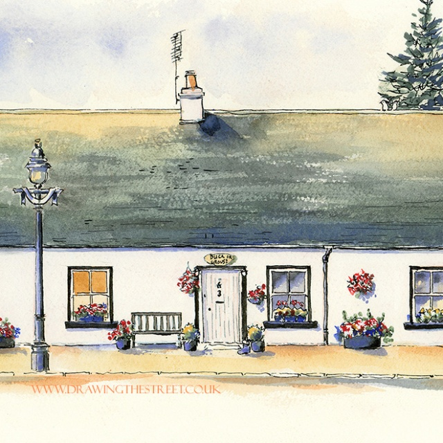 drawing of traditional scottish cottage by ronnie cruwys