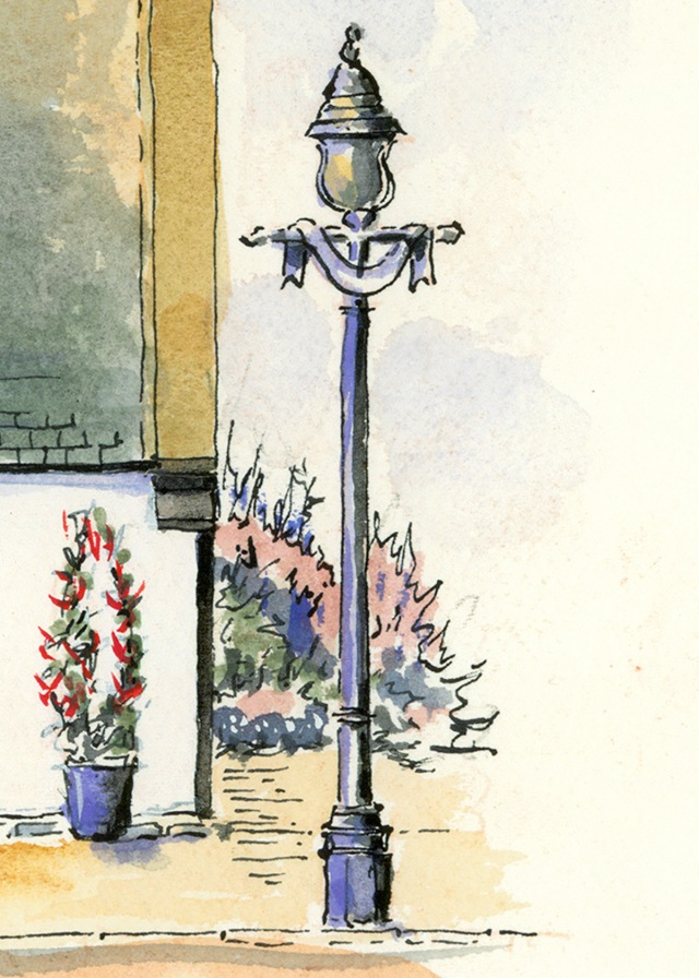 sketch of street lamp by ronnie cruwys