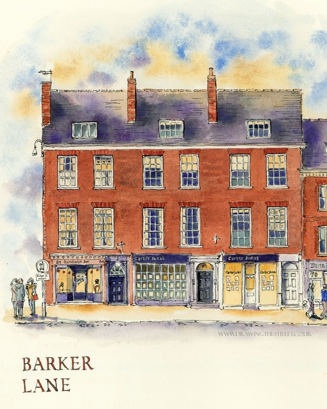 Drawing of Micklegate York, Sandwich Bar and Carter Jonas