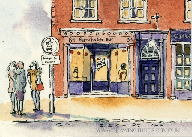 Drawing of Micklegate York, Sandwich Bar