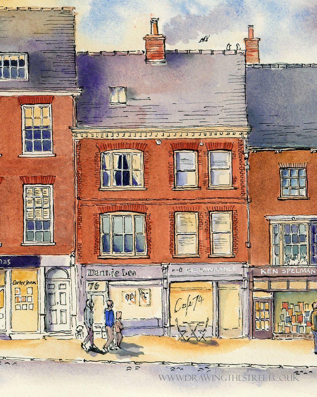 drawing by Ronnie Cruwys of Dannie Lea and The Lawrance, Micklegate York