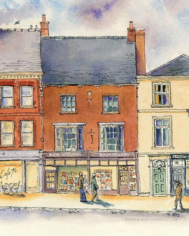 drawing of ken spelman bookshop york
