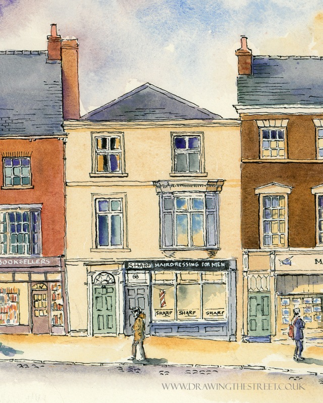 Sharp Hairdressing for men, 68 Micklegate, artwork by ronnie cruwys