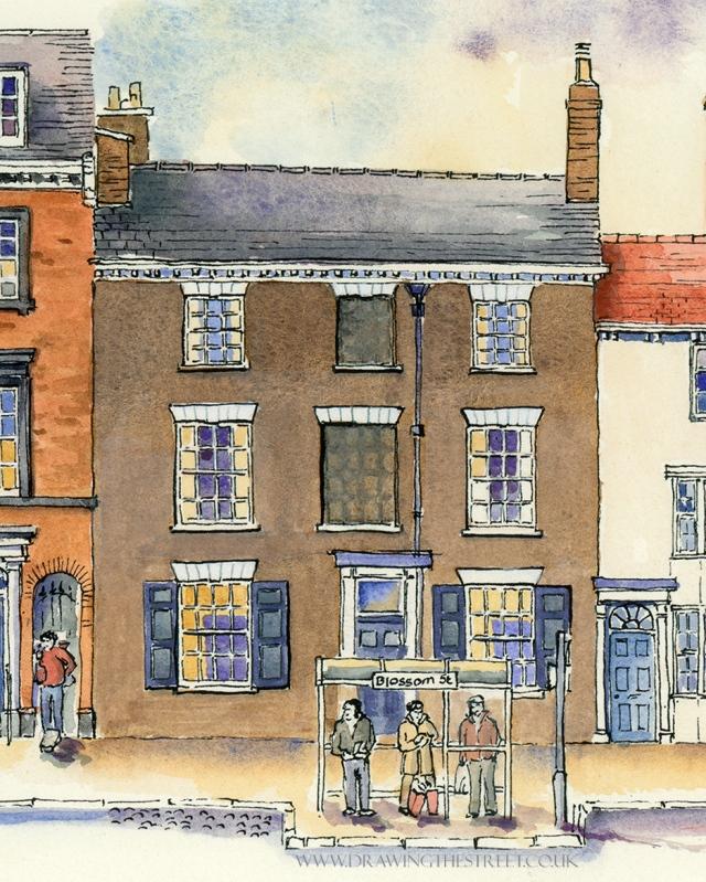 drawing of 27 blossom street york by ronnie cruwys