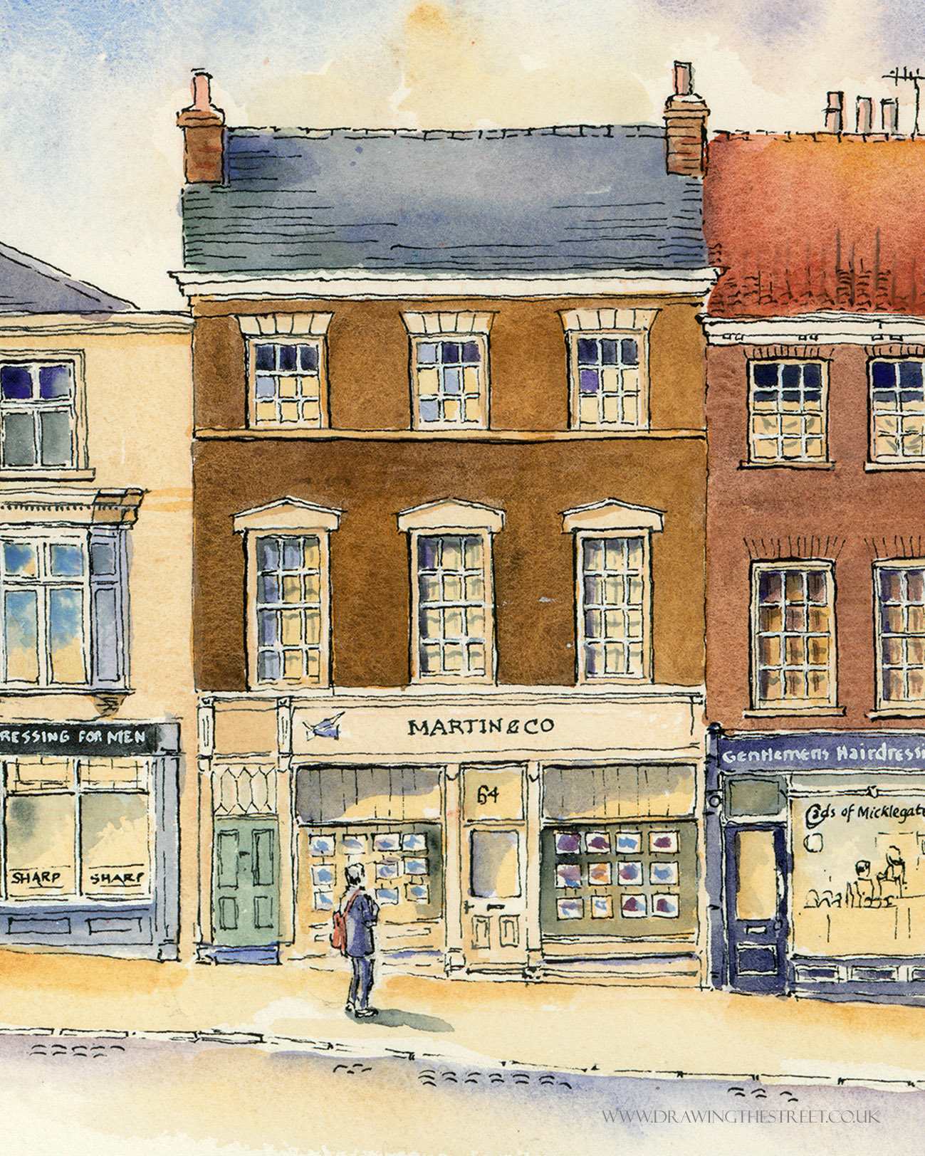 drawing by ronnie cruwys of Martin and Co, 64 Micklegate, York