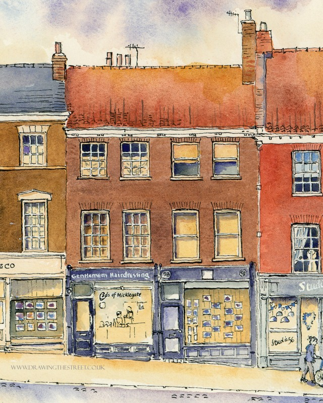 58 Micklegate, York, Cads Gentlemens Hairdressing artwork by ronnie cruwys