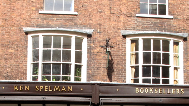 Narrow joints on brickwork above Ken Spelman bookseller