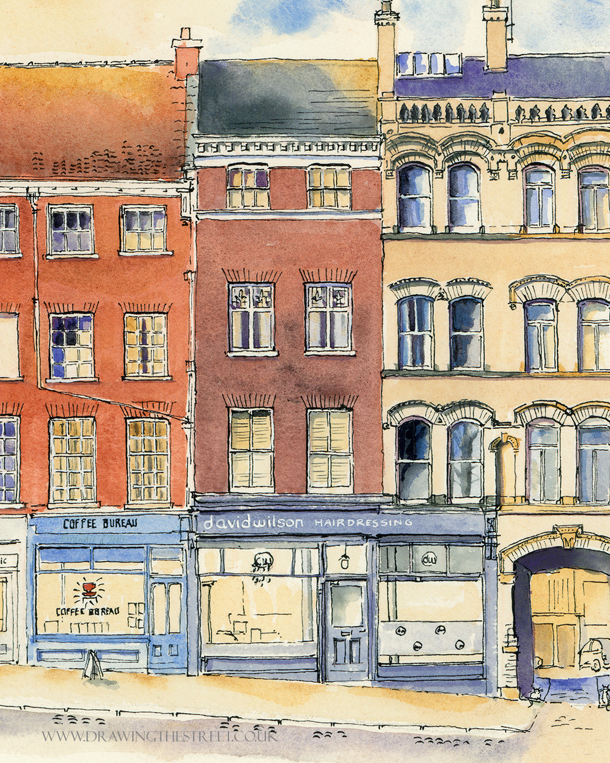 drawing by artist ronnie cruwys of David Wilson Hairdressing York
