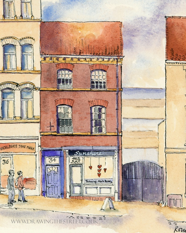 drawing of 34 Micklegate york by ronnie cruwys