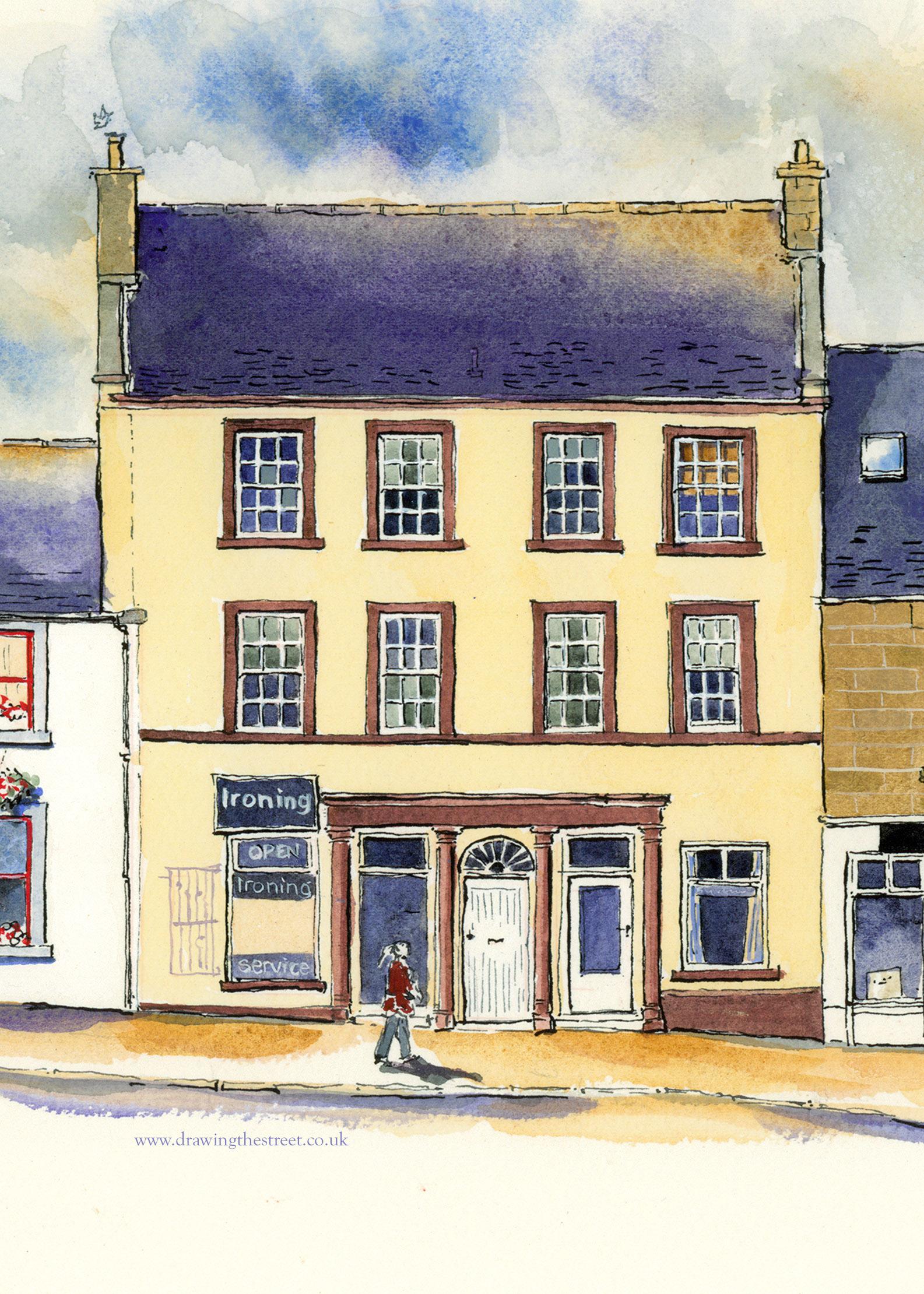 no 9, 11 and 13 west port lanark, artwork by ronnie cruwys