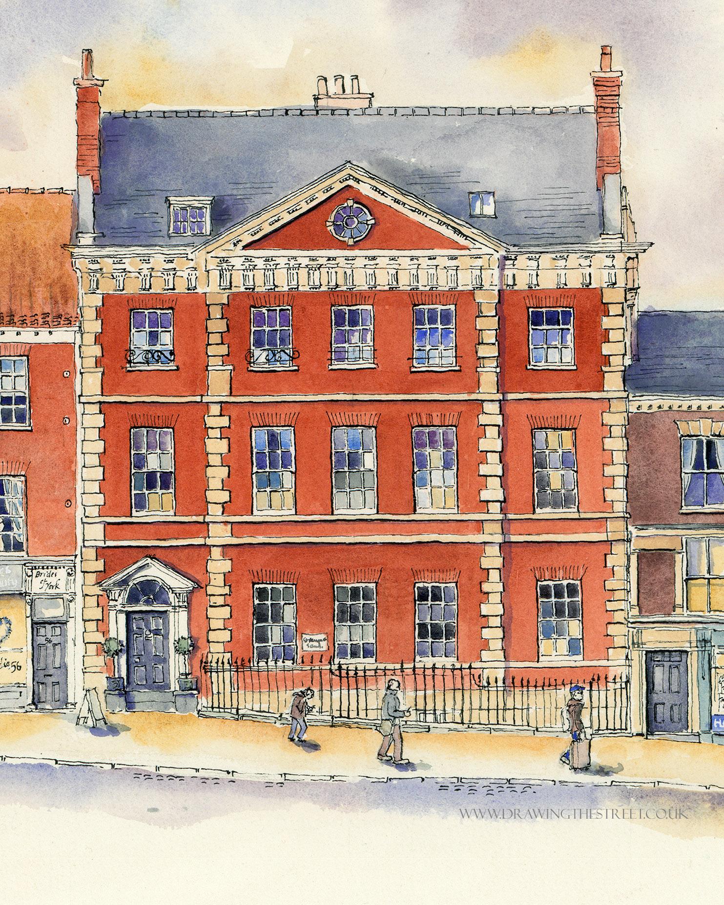 red brick georgian mansion in york artwork by ronnie cruwys
