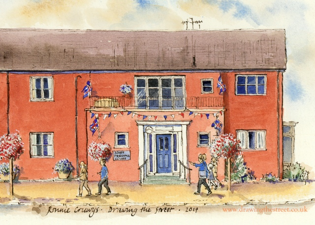 pen and ink drawing of john persahll court, eccleshall by ronnie cruwys