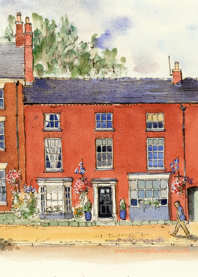 red brick building, high street, eccleshall, staffordshire by artist ronnie cruwys