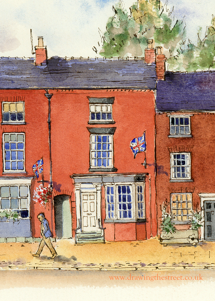 drawing of 49 High Street Eccleshall by ronnie cruwys