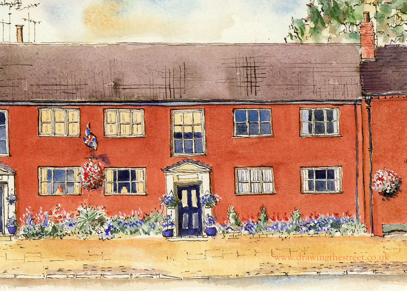 pen and ink drawing of Lonsdale Court Eccleshall by ronnie Cruwys