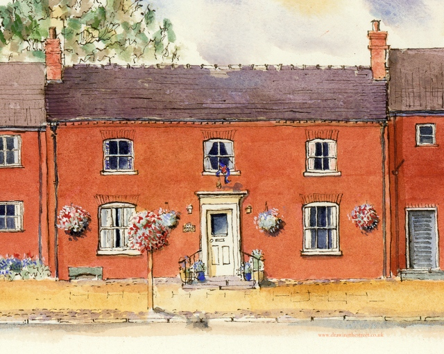drawing of Hamlet House Eccleshall by Ronnie Cruwys