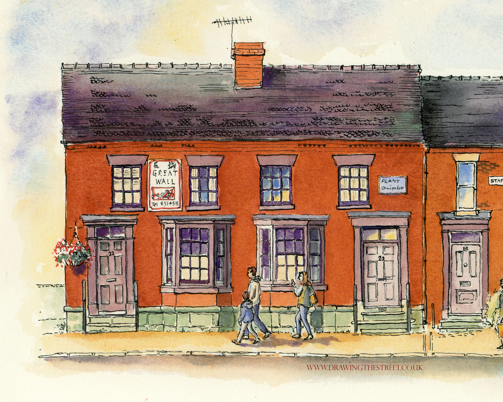 pen and ink artwork of 20 and 22 stafford street eccleshall by ronnie cruwys