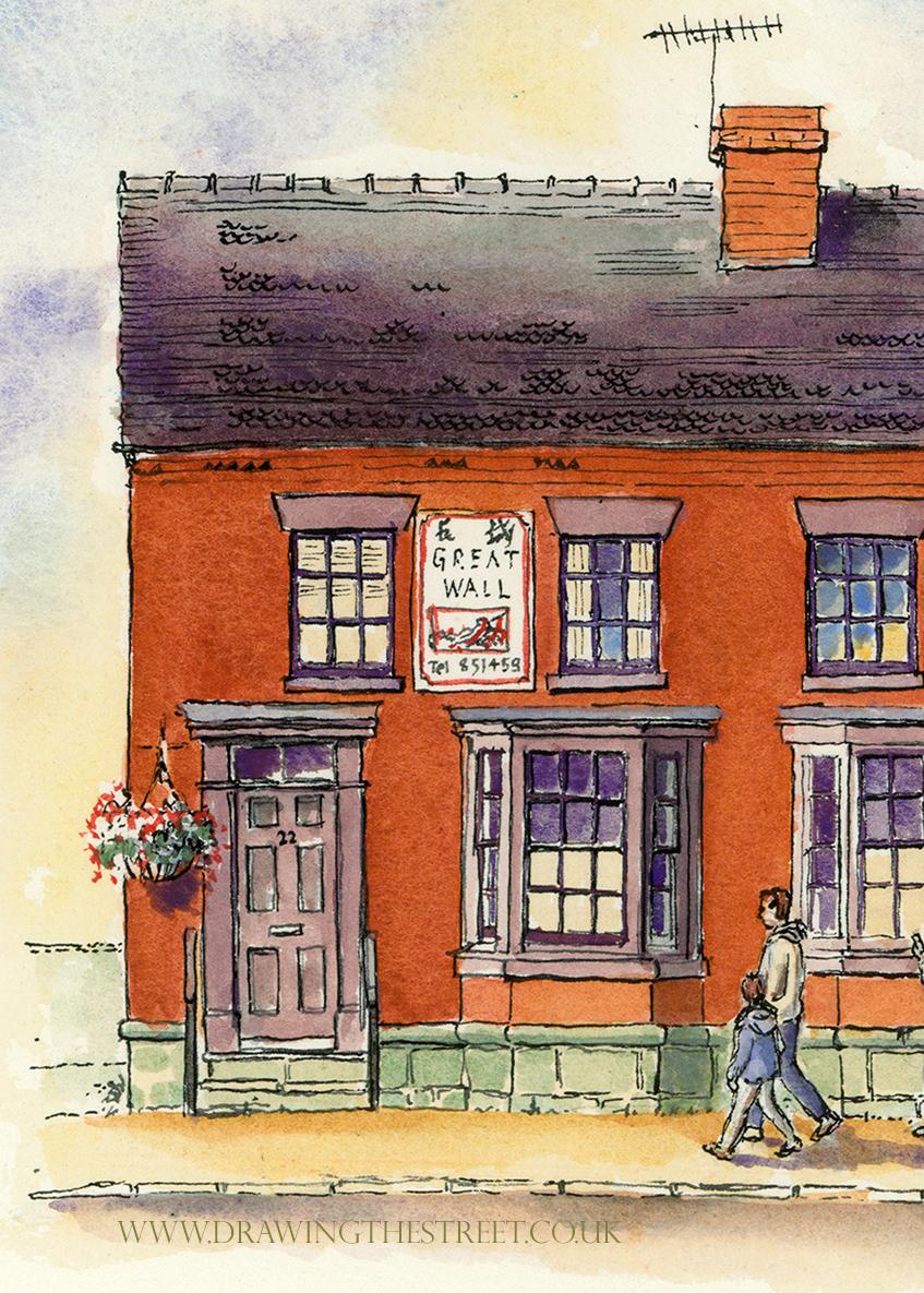 red brick building 22 stafford street eccleshall drawn by ronnie cruwys